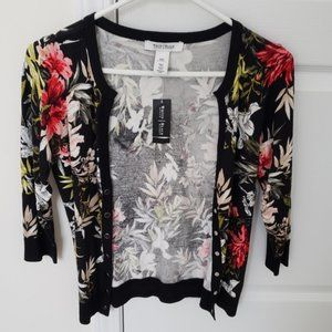 WHBM Buttoned Floral Cardigan Sweater